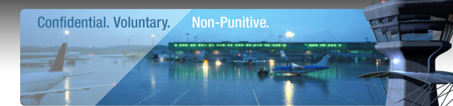 Confidential. Voluntary. Non-Punitive. (airport, aircraft, tower graphic)
